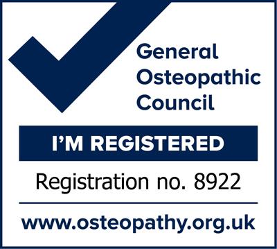 I'm Registered with the General Osteopathic Council - reg. no. 8922
